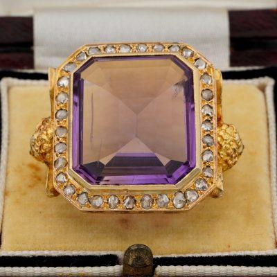 Antique Rare Amethyst Diamond  Angel Bishop Ring 1890 ca