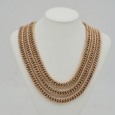Victorian rare 165 cm 73 Grams 14 Kt Rose Gold Curb Chain
