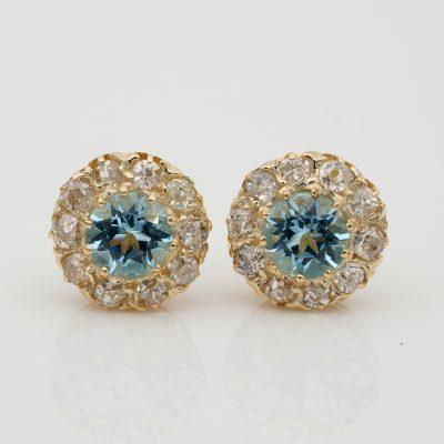 Edwardian 1.0 Ct  Aquamarine 2.20 Ct Old Mine Diamond Stud Earrings