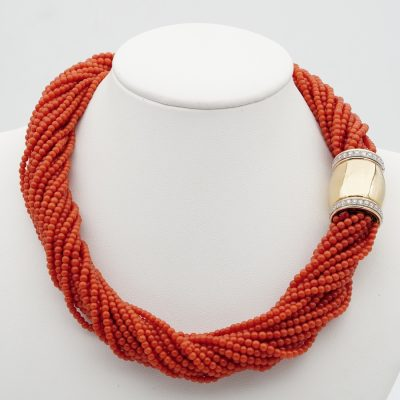 Italian Multi strand Natural Coral 18 KT Diamond Clasp Torsade Necklace