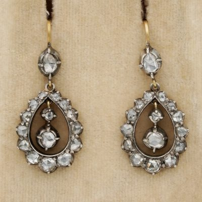 Beautiful Georgian Rose Cut Diamond Drop Earrings