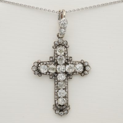 Victorian French Origin 5.30 Ct Diamond Cross Pendant