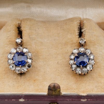 Victorian 1.20 Ct Natural Unheated Sapphire .88 Ct Rose Cut Diamond Earrings