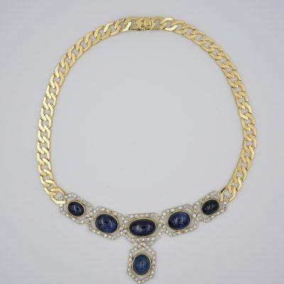 Estate Natural Untreated Ceylon Sapphire and Diamond Unique Chic Necklace