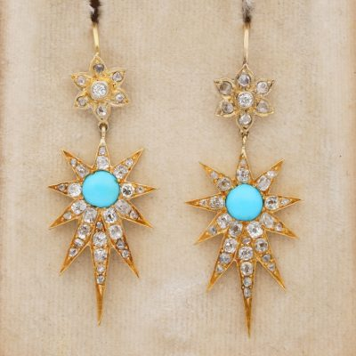 Victorian Diamond Turquoise Celestial Star Drop Earrings 18 Kt