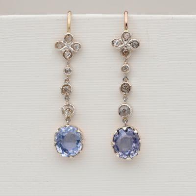 Art Deco 3.40 Ct No Heat Sapphire Diamond Drop Earrings
