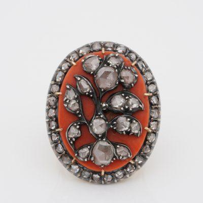Rare Georgian Italian Diamond Coral Giardinetti Glove Ring