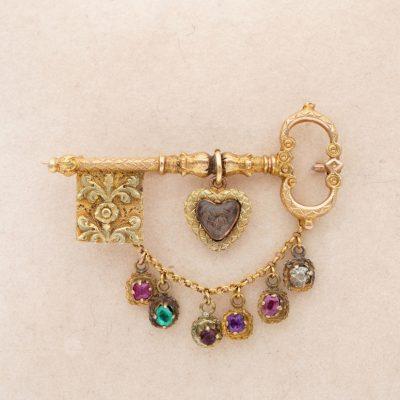 Georgian Key to My Heart Rare 18 Kt Acrostic Brooch