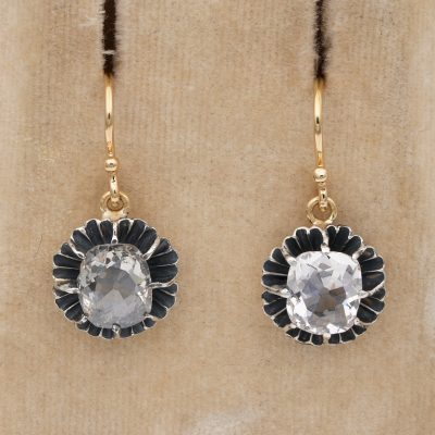 Victorian 3.20 Ct Cushion Diamond Dormeuse Earrings
