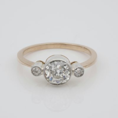 Antique 1.50 Ct Plus Old Mine Cut Diamond Solitaire Trilogy Ring