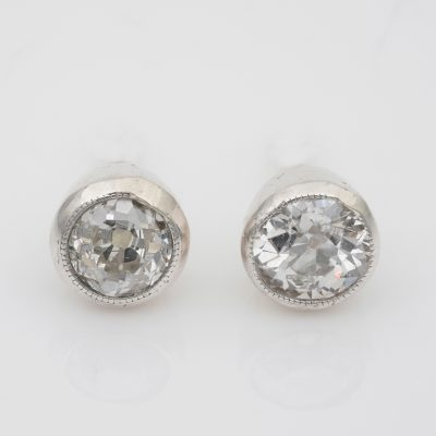 Victorian 1.10 Ct Old Mine Diamond Solitaire Studs