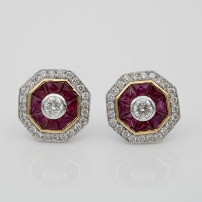 Art Deco Style 1.40 Ct Natural Ruby 1.10 Ct Diamond Target Studs