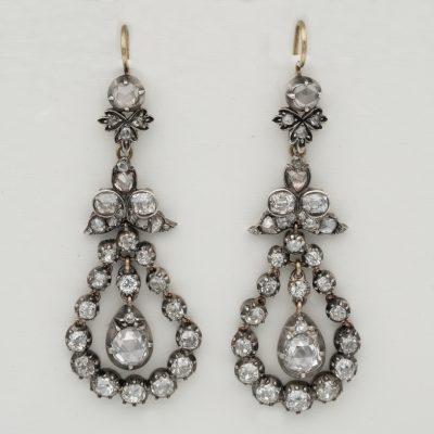 Georgian Beautiful 5.50 CT Diamond Drop Earrings