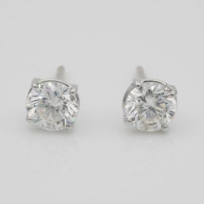 1.65 Ct Round Brilliant Cut Diamond Studs IGN Certified
