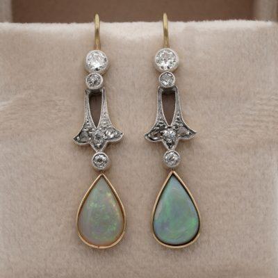 Edwardian Solid Opal Diamond Silver on Gold Drop Earrings
