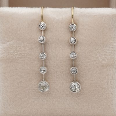 Victorian 1.10 Ct Old mine cut Diamond bar line drop earrings