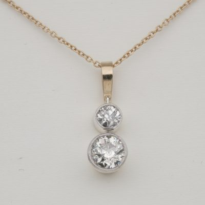 Victorian 1.20 Ct twin Old Mine Cut Diamond drop necklace