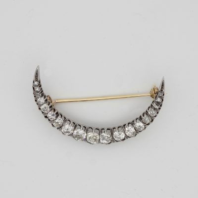 Victorian 2.20 Ct Old Mine Cut Diamond Crescent Moon Brooch 18 KT