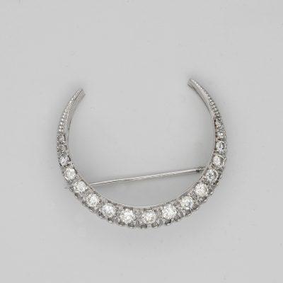 Vintage 1.60 CT Brilliant Cut  F/G VVS Diamond Crescent Moon brooch/pendant
