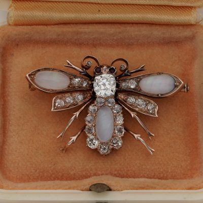 Victorian Opal and 2.60 Ct Diamond Fly Brooch/Pendant