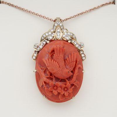Vintage Carved Bird Coral Diamond Brooch/Pendant 14 Kt Large Size