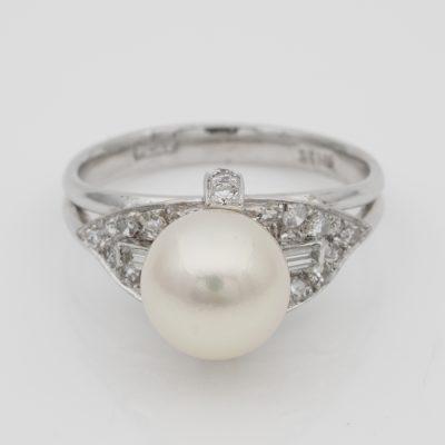 Vintage Pearl Solitaire Diamond Platinum Ring