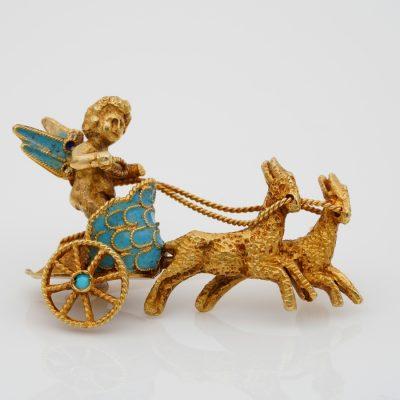 Cherub on Chariot Exquisite Vintage 18 KT gold brooch