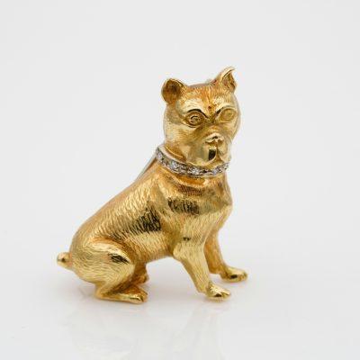 Art Deco Diamond sitting Boxer Dog 18 KT gold