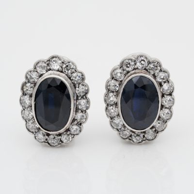 Vintage 8.40 Ct natural blue sapphire and 2.60 Ct old cut diamond platinum earrings
