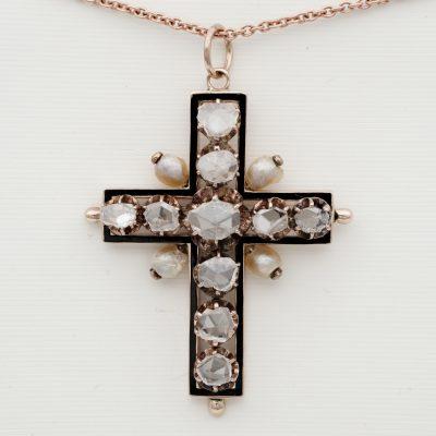 Georgian 3.50 Ct Rose Cut Diamond 16 Kt Latin Cross