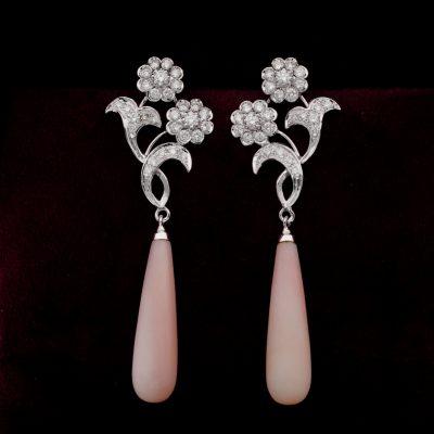 Stunning Pink Opal 2.40 Ct Diamond Swing Drop earrings