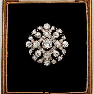 Victorian 4.0 Ct Old Mine Cut Diamond Outstanding Brooch Pendant