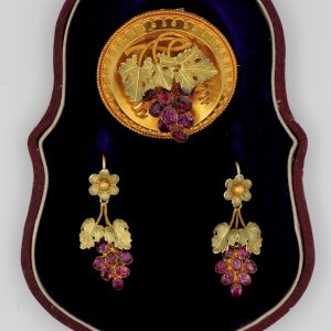 Antique Garnet 18 KT Gold Carved Grape Demi Parure