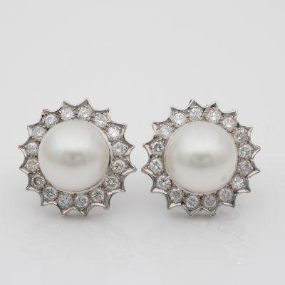 11.mm South Sea Pearl 1.20 Ct Brilliant Cut Diamonds Platinum Earrings