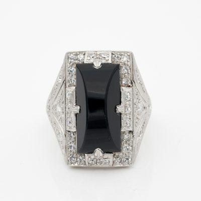 Art Deco Black Onyx Diamond Platinum Dinner Ring