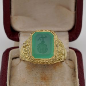 Georgian/Regency Intaglio Prasiolite Embossed 18 Karat Signet ring