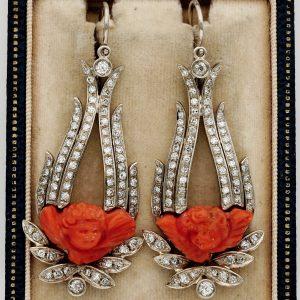 Vintage Coral Cherubs 3.10 Ct Old Cut Diamond Wide Earrings