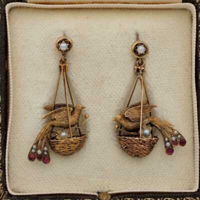 Victorian Seed Pearl Ruby Rare Bird of Paradise Earrings