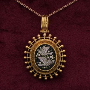 Victorian Micro mosaic Locket Etruscan revival 18 KT gold