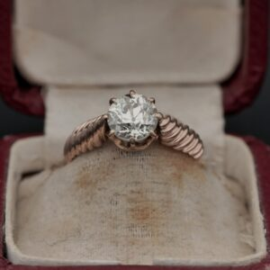 Victorian 1.40 Ct Old European Cut Diamond Solitaire ring J VVS