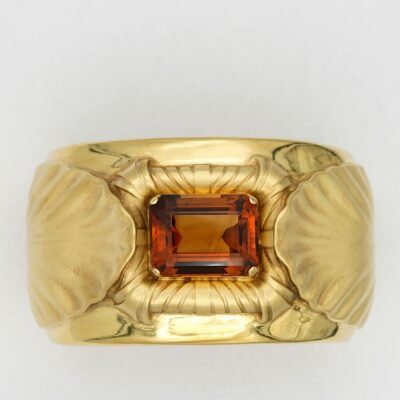 Mid Century Wide Citrine Bangle 18 KT Signed Forzani