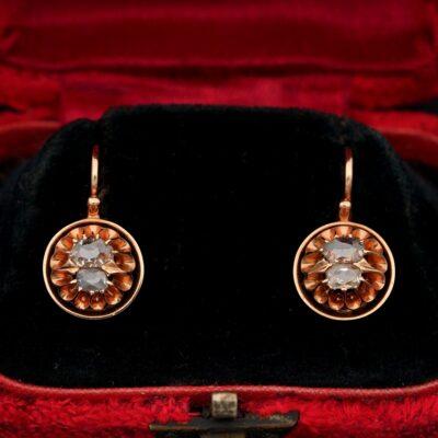 Victorian .60 CT Antique Diamond Cut Boxed earrings