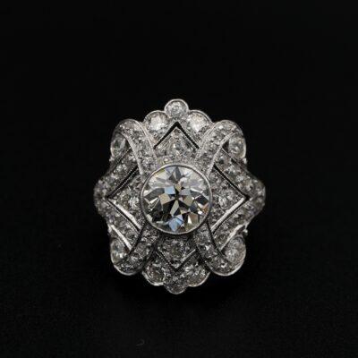 Art Deco 1.75 Ct Diamond Plus – 2.20 Ct Complement Platinum Plaque Ring