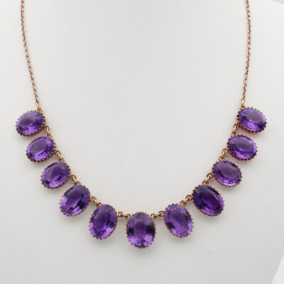 Victorian 60.00 CT Natural Amethyst Rare Riviere Necklace 1880 ca