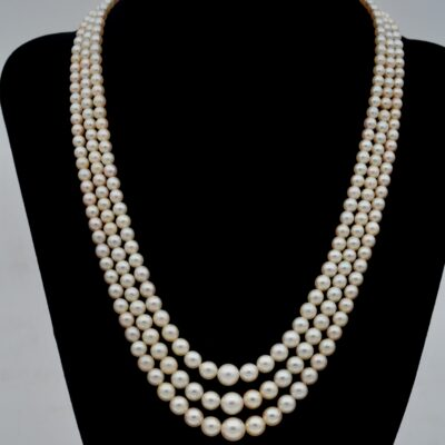 Antique Edwardian Triple Strand Graduated Pearl Original Diamond Clasp