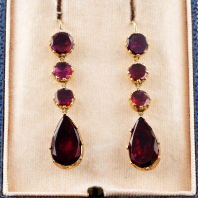 Georgian Flat Cut Red Garnet Beautiful Long Drop Earrings