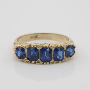 Victorian French 2.30 Ct Natural Sapphire Five stone ring