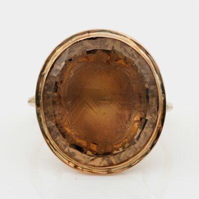 Georgian 24.00 Ct Citrine Coat of Arms Seal Ring