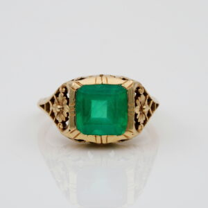 Art Nouveau Rare Not Enhanced 3.10 Ct Emerald Solitaire ring