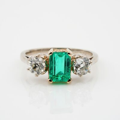 Vintage 1940 ca 1.60 Ct Colombian Emerald 1.20 Ct Old Mine Diamond Ring